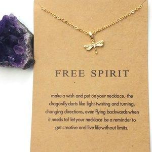 Jewelry - Gold Dragon Fly Necklace w/ Free Spirit Card